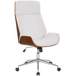 DMQ Bílé koženkové ořechové kancelářské křeslo Albert