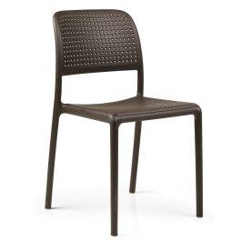 SitBe Kávově hnědá plastová zahradní židle Loft Židle do kuchyně
