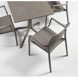SitBe Šedo hnědá plastová zahradní židle Loft s područkami