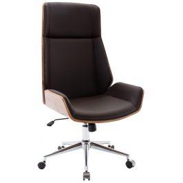 DMQ Tmavě hnědá koženková ořechová kancelářská židle Berger