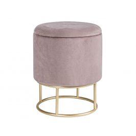 Růžový sametový taburet Bizzotto Polina