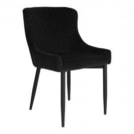 Nordic Living Černá sametová jídelní židle Leonie