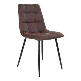 Nordic Living Tmavě hnědá látková jídelní židle Nellie