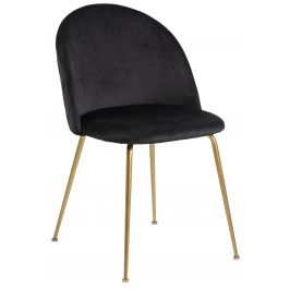 SCANDI Černá sametová jídelní židle Harper se zlatou podnoží