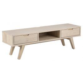SCANDI Přírodní dřevěný televizní stolek Anita 150 x 40 cm