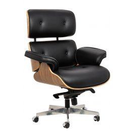 Culty Gold Černé kožené ořechové křeslo Lounge chair na kolečkách