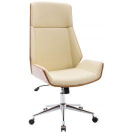 DMQ Béžová koženková ořechová kancelářská židle Berger