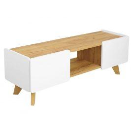 Bílý TV stolek Skandica Lett s dubovou podnoží 135 x 40 cm