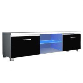 TV stolek 150x40cm v kombinaci bílá a černý lesk TK2143