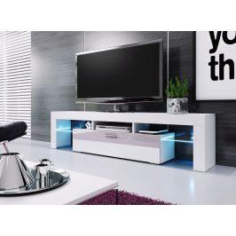 Televizní stolek 190 cm ve vysokém bílém lesku KN1085