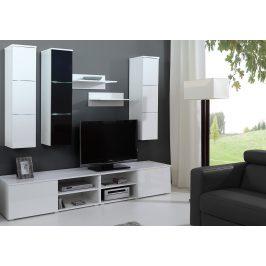 Obývací stěna v bílém lesku v kombinaci s černou barvou KN1052