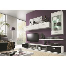 Obývací stěna v elegantní bílé a černé barvě KN367 Obývací stěny