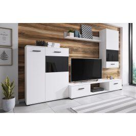 Obývací stěna v bílé barvě s kontrastními černými prvky KN1132 Obývací stěny