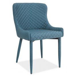 Elegantní jídelní čalouněná židle v modré barvě KN349