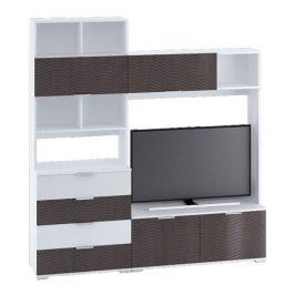 TV stěna v nadčasovém bílém lesku v kombinaci s dekorem wenge KN1179