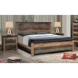 Manželská dřevěná postel s roštem 180x200 cm v dekoru dub multicolor KN1214