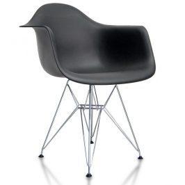 Jídelní plastová židle v černé barvě na kovové konstrukci KN505