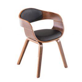 Jídelní židle s čalouněním v černé ekokůži s dřevěnou konstrukcí v dekoru ořech SET 2 ks DO055 POSLEDNÍ KUS NA SKLADĚ