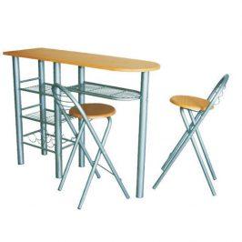 Barové židle + barový pult v moderním dekoru buk BOXER