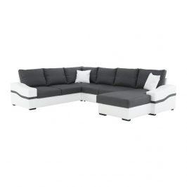 Rohová sedací souprava v moderním pravém provedení šedé látky v kombinaci s bílou ekokůží TK162