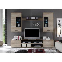 Obývací stěna s moderním LED osvětlením v elegantním dekoru dub sonoma FRONTAL 2 Obývací stěny