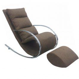Houpací pohodlné křeslo v hnědé barvě s kovovou podnoží TK3025