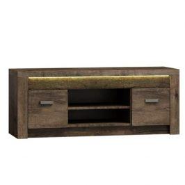 Televizní stolek z tmavého jasanu s výraznou reliéfní kresbou TK210