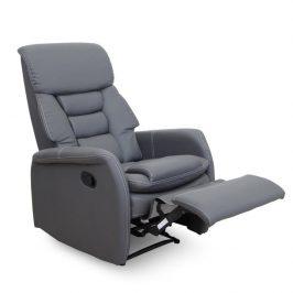 Relaxační křeslo v luxusním provedení šedé ekokůže KOMFY