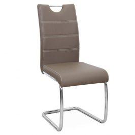 Jídelní židle potažená hnědou ekokůží se zdobným prošitím na opěradle a chromovou moderně tvarovanou podstavou TK182