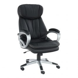 Kancelářské křeslo, ekokůže černá + plast, rotar