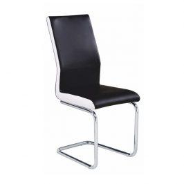 Jídelní židle z černé ekokůže na chromové konstrukci TK2039