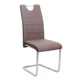 Jídelní židle hnědá látka, boky hnědá ekokůže na chromových nohách TK2033