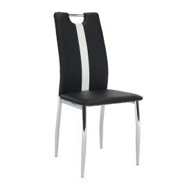 Jídelní židle v černé ekokůži s bílým pruhem na opěradle TK2041