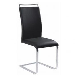 Kovová jídelní židle z ekokůže v černé barvě s moderním podstavcem bez zadní opěry TK127