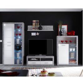 Moderní obývací stěna v bílém lesku a betonové barvě TK301 Obývací stěny