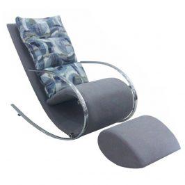 Houpací pohodlné křeslo v šedé barvě s kovovou podnoží TK3025