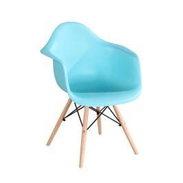 Designové trendy křeslo v kombinaci dřeva buk a plastu mentolové barvy TK190