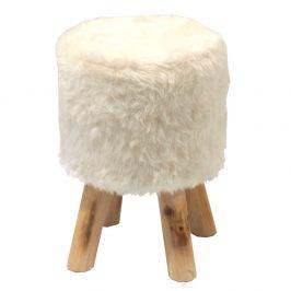Hřejivá taburetka z umělé kožešiny a borovice TK310