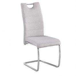 Jídelní židle z krémové látce a chromové podstavy TK2043