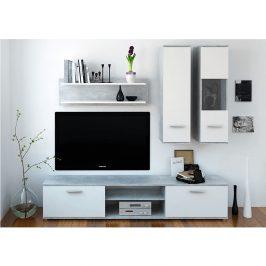 Obývací stěna v kombinaci bílé a betonu TK2142