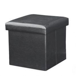 Taburetka skládací s úložným prostorem ekokůže černá TK3226