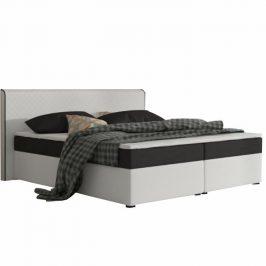 Manželská postel 160x200 cm typu ECOSPRING bílá ekokůže a černá látka TK3024 KOMFORT