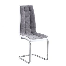 Jídelní židle čalouněná tmavě šedá látka v kombinaci ekokůže bílá podnož chrom TK3170