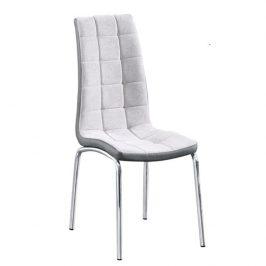 Jídelní židle čalouněná šedá látka v kombinaci ekokůže tmavě šedá nohy chrom TK3171