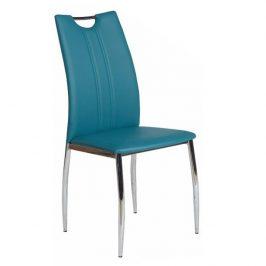 Jídelní židle čalouněná ekokůže petrolejová nohy chrom TK3172