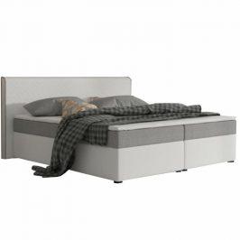 Manželská postel 180x200 cm typu ECOSPRING bílá ekokůže a šedá látka TK3024 MEGAKOMFORT