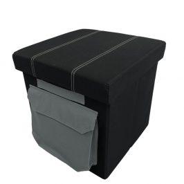 Taburet s úložným prostorem a kapsičkou černá látka TK3230