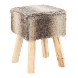 Kožešinový taburet hnědá s dřevěnou podnoží TK3234