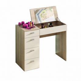 Toaletní stolek se zásuvkami a zrcadlem v bílé barvě v kombinaci s dekorem dub sonoma TK3049