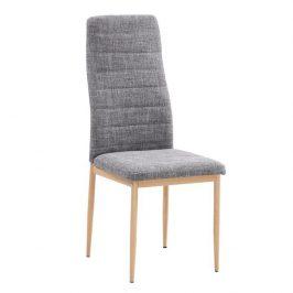 Jídelní židle ve světle šedé barvě s konstrukcí v dekoru buk TK2038